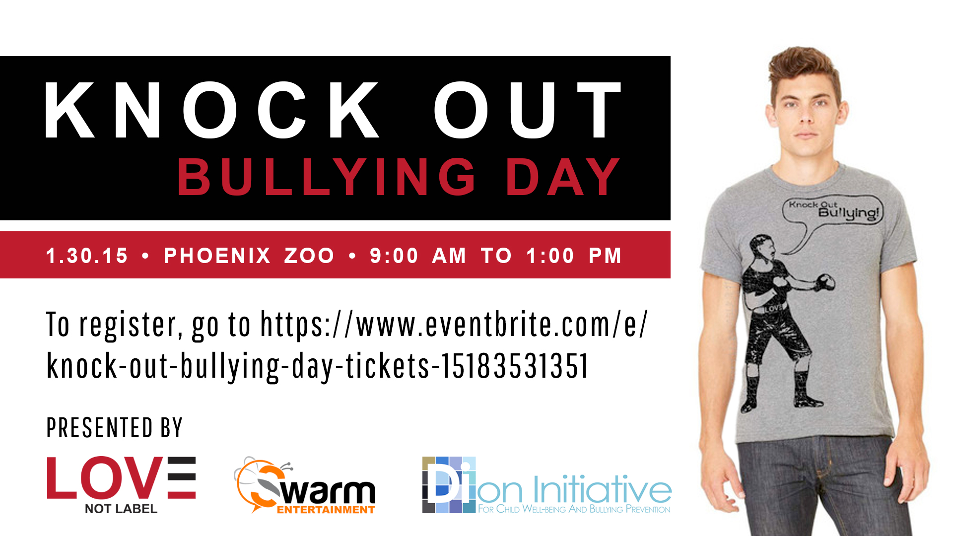 Knock Out Bullying Day - January 30, 2015 from 9am to 1pm. Click to register.